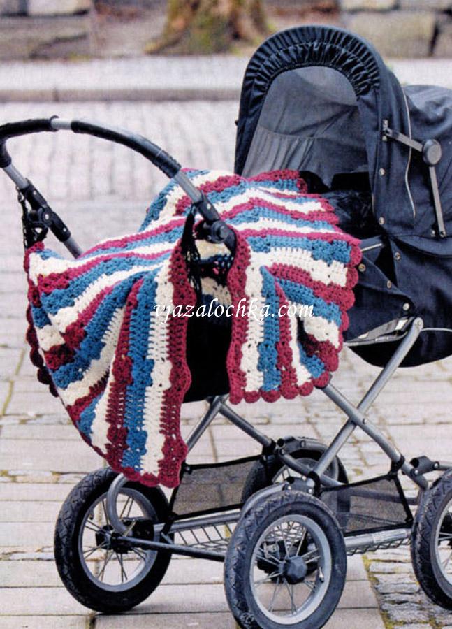Детское одеяло вязаное крючком