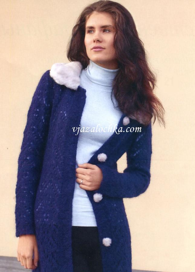 Вязаное пальто рукоделие вязание